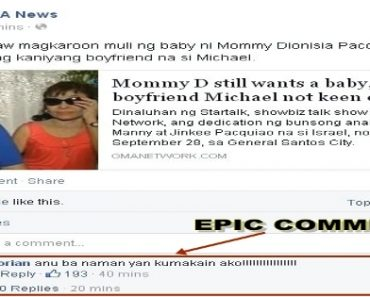 Funniest Trending Comment on Report that Mommy D still wants a Baby