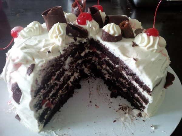 This is an example of the layers you want to achieve in your black forest cake. Photo credit: Joy Adalia