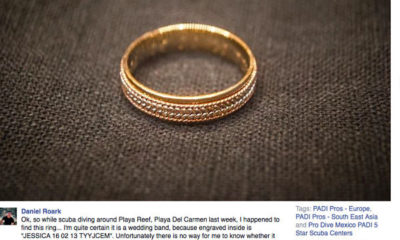 Wedding ring found by scuba diver Daniel Roark