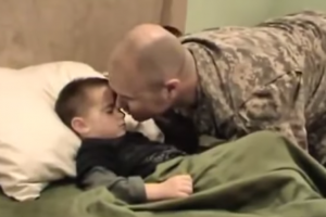 Soldier from Iraq Surprises Son but the Boy Just Won't Wake Up