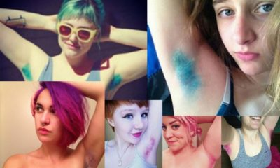 Ladies showing off their pastel-colorer armpit hair