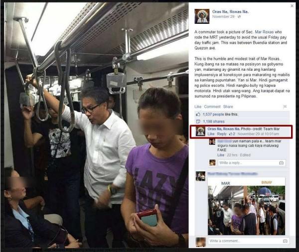 mar roxas picture fail at MRT