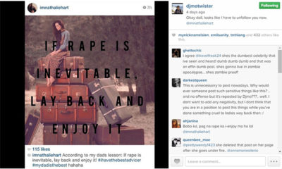 Nathalie Hart's controversial rape post