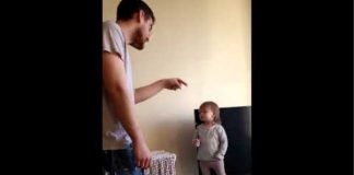 Cute toddler wins standoff versus dad