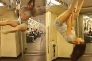 Woman Does Sexy Pole Dance Inside MRT