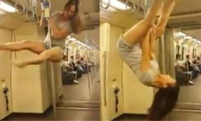 Woman Pole Dances inside MRT in Bangkok