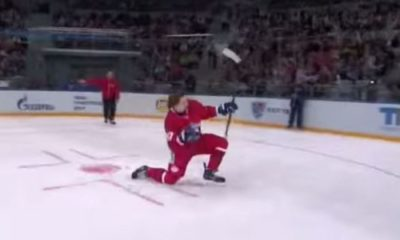 Nikita Gusev does epic ice hockey trick
