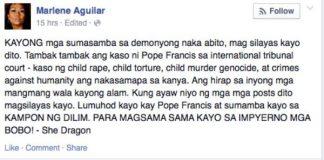 Marlene Aguilar bashes Pope Francis