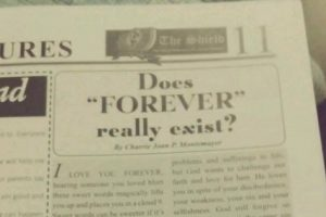 """Student's Essay Touches the Heart: Does """"FOREVER"""" Really Exist?"""