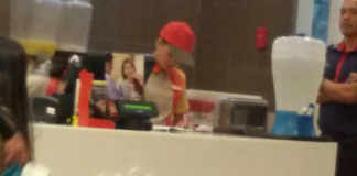 Woman Eats Leftover Chicken at Jollibee