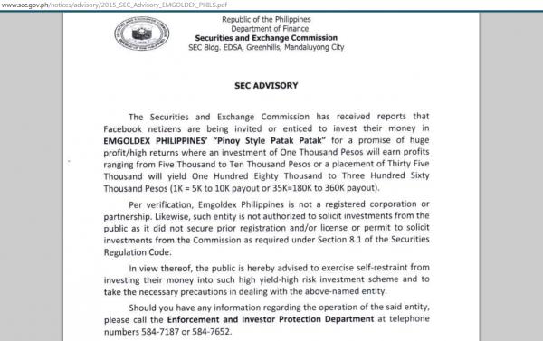 SEC advisory Emgoldex Philippines