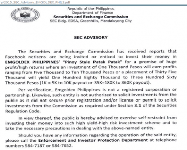 Emgoldex Philippines' Collection of Investments is NOT Authorized by SEC