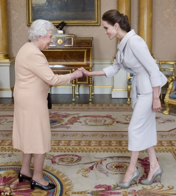 Angelina Jolie and the Queen Photo credit: PA/Daily Mail UK