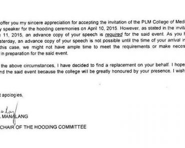 "PLM Alumna Invited As Keynote Speaker ""Disinvited"""