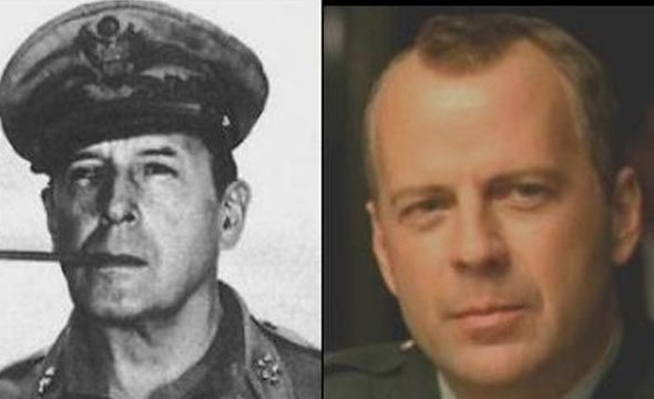 Bruce Willis greatly resembles WWII General Douglas MacArthur