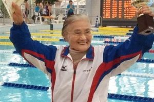New World Record: 100-Year-Old Japanese Competes in 1,500-m Freestyle Swim!