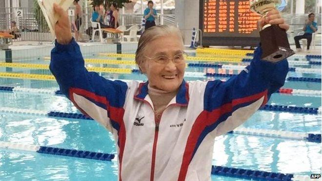 Mieko Nagaoka oldest swimmer