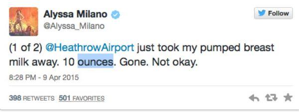 Alyssa Milano slams London Heathrow Airport for confiscating her pumped breastmilk