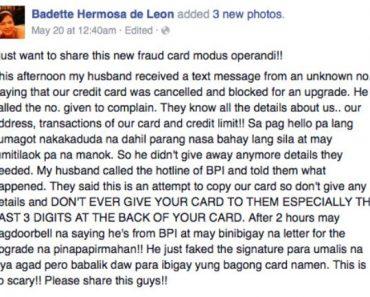 Netizen Warns Credit Card Holders Against New Modus Operandi Involving Fake Bank Representatives