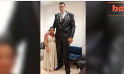 giant man marries small woman