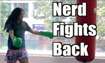 nerd girl wins in muay thai
