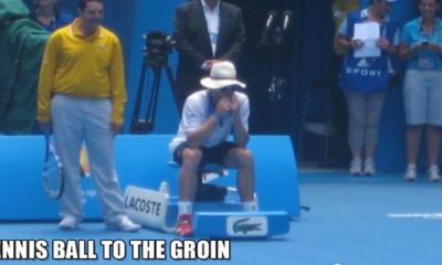 tennis ball to the groin