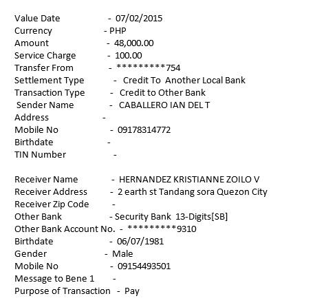 fund transfer of hacked account