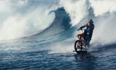 Motocross Stunt Rider Surfs the Waves on His Dirt Bike
