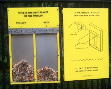 One-of-a-kind Cigarette Bin Will Stop People from Littering