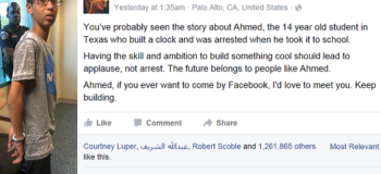 Muslim Teen Arrested for Bringing Clock to School Receives Support from Big-Time Personalities