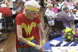 Centenarian Dressed as Wonder Woman Celebrates 103rd Birthday Volunteering at A Senior Home