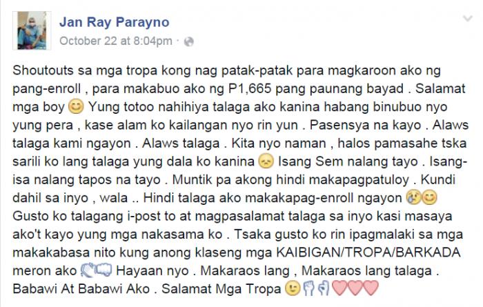 Screenshot of Jan Ray's original FB post Photo credit: Facebook/Jan Ray Parayno