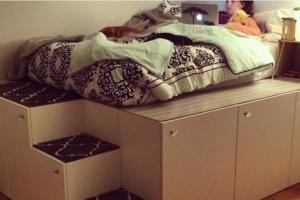 Dad Creates Beautiful Platform Bed Using Standard Kitchen Cabinets