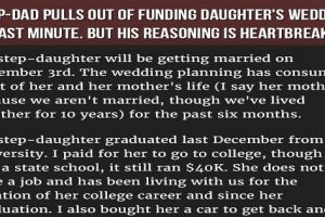 VIRAL: Stepfather Pulls Out Funds for Ungrateful Stepdaughter's Wedding