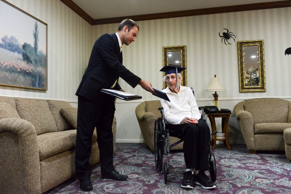 grandma receives diploma