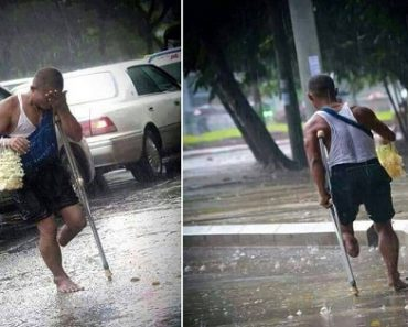 Touching Plight of Disabled Vendor Who Continued Selling Under the Rain