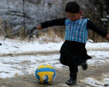 VIRAL: Photo of Adorable Afghan Boy in Plastic Bag Soccer Jersey