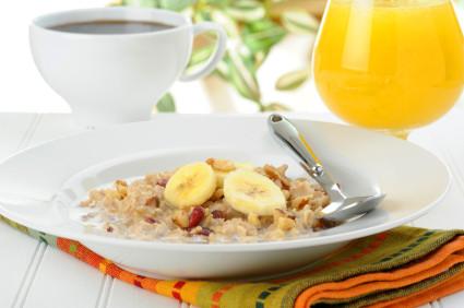 orange juice and oatmeal