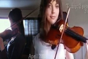 Young Lady Films Her Progress in Learning the Violin for Two Years