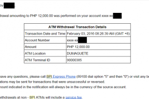 BPI Sends Email Alerts for ATM Withdrawals… All Banks Should Do This!