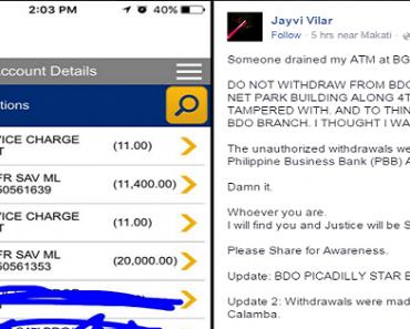 ATM Skimming Crooks have Allegedly Tampered a Machine Inside a BDO Bank at BGC