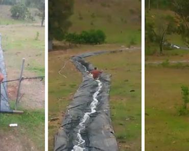 Australian Family's Homemade Water Slide Goes Viral
