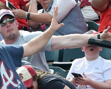 Baseball Fan Saves Young Boy from Being Hit by a Bat Flying at Full Speed