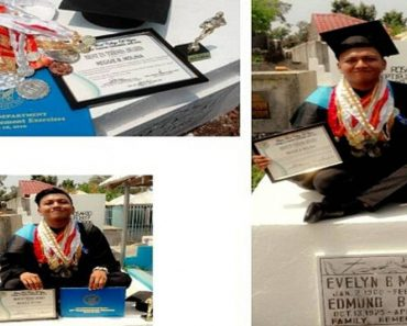 Graduate Proudly Posts 'Graduation Photo' with Mother's Tomb