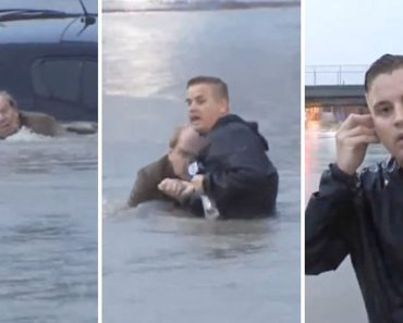 Reporter Saves Man From Flood While Reporting On Live TV