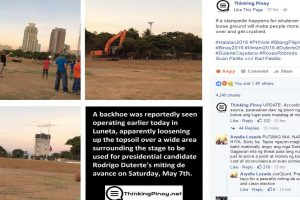"""Backhoe Loosens Soil around Stage to be Used for Duterte's """"Occupy Luneta"""""""
