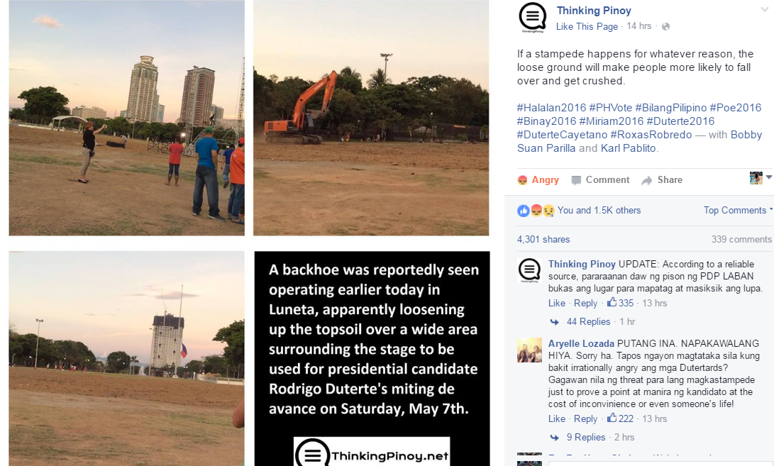 Screenshot of the FB post by Thinking Pinoy