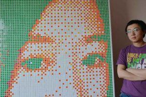 Geek Solves 840 Rubik's Cubes to Create Giant Portrait of His Dream Girl, Gets Rejected
