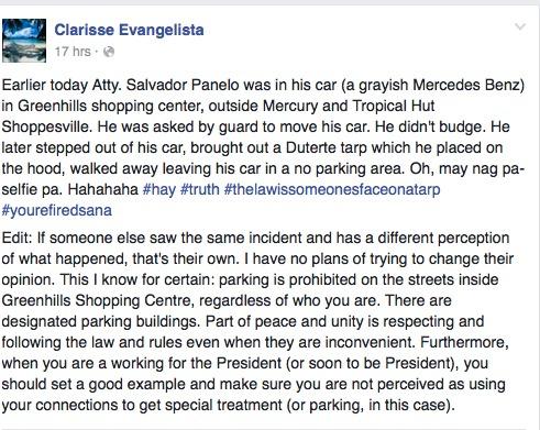 PHOTO CREDIT: Facebook/Clarisse Evangelista