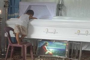 Little Boy Goes Viral for Hugging Coffin of Late Mom